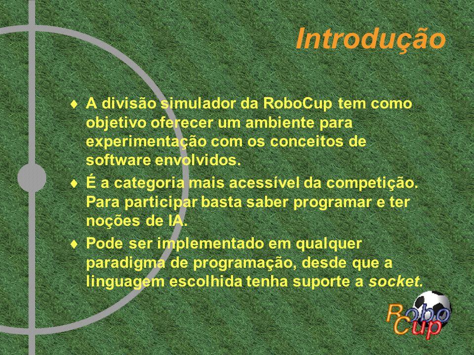 Introdução A divisão simulador da RoboCup tem como objetivo oferecer um ambiente para experimentação com os conceitos de software envolvidos.