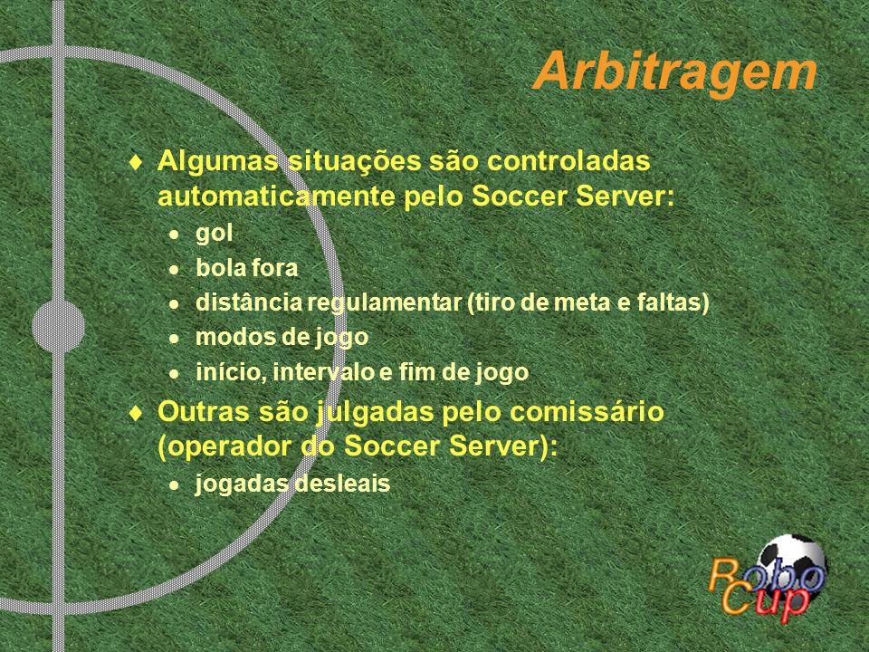 Arbitragem Algumas situações são controladas automaticamente pelo Soccer Server: gol. bola fora. distância regulamentar (tiro de meta e faltas)