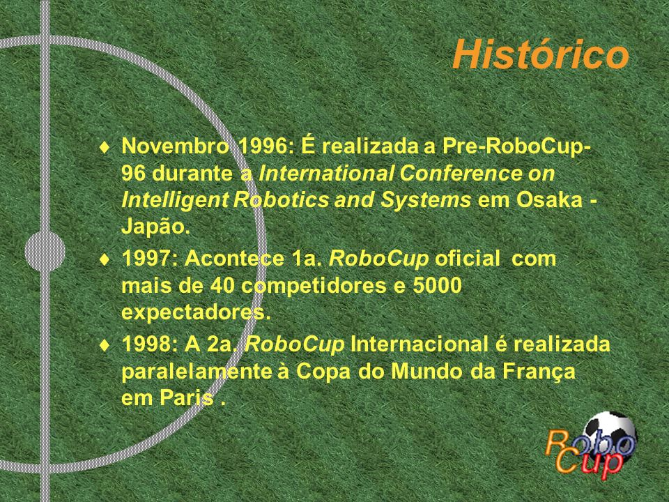 Histórico Novembro 1996: É realizada a Pre-RoboCup-96 durante a International Conference on Intelligent Robotics and Systems em Osaka - Japão.
