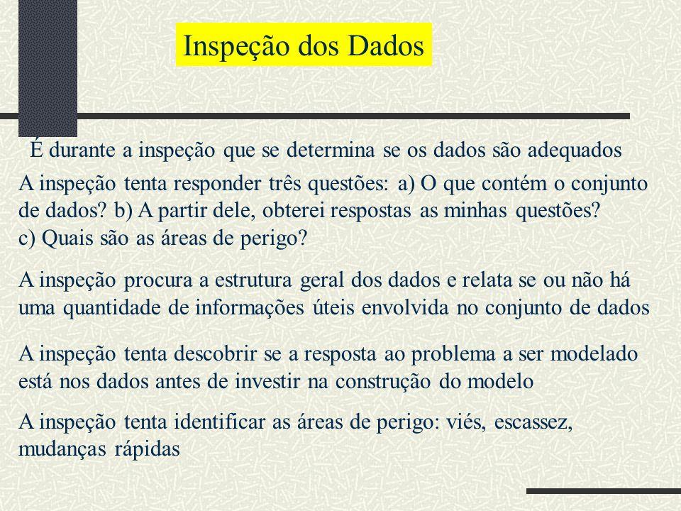 Inspeção dos Dados É durante a inspeção que se determina se os dados são adequados.