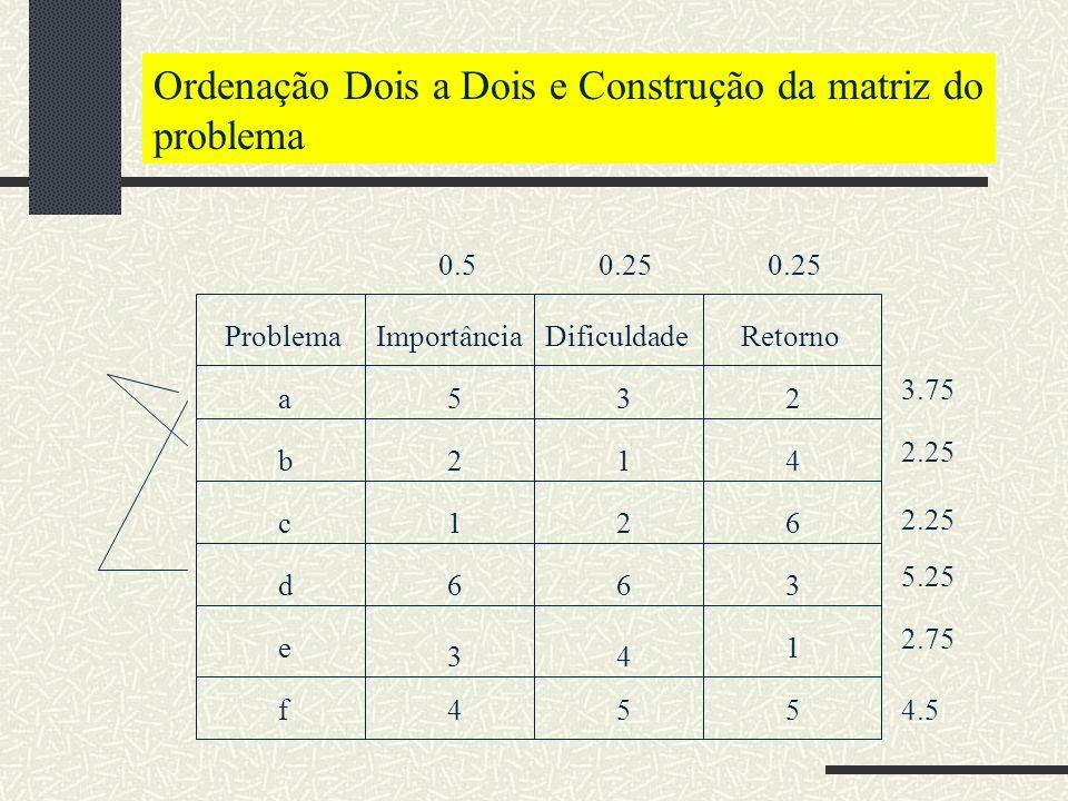 Ordenação Dois a Dois e Construção da matriz do problema