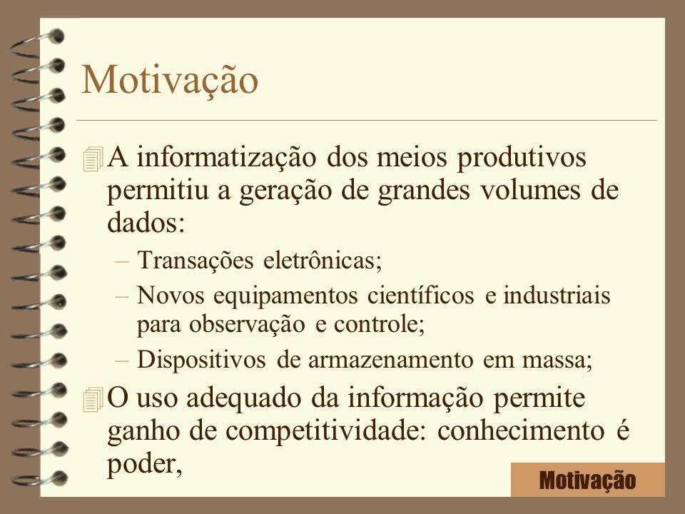 Motivação A informatização dos meios produtivos permitiu a geração de grandes volumes de dados: Transações eletrônicas;