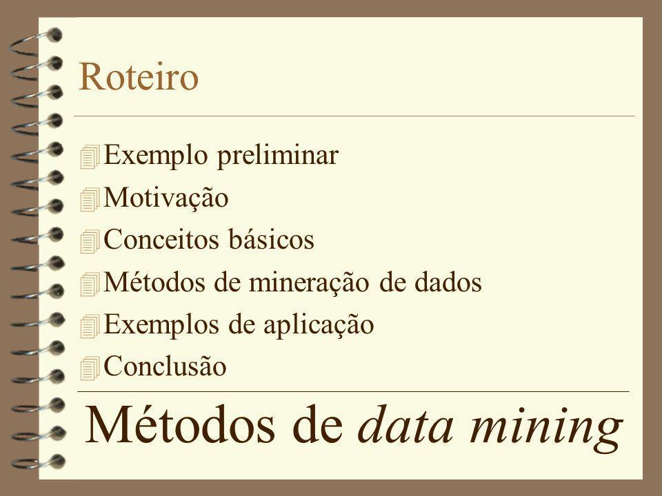 Métodos de data mining Roteiro Exemplo preliminar Motivação