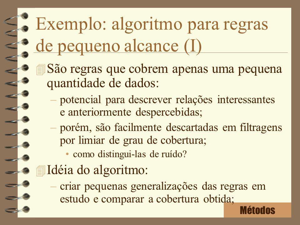 Exemplo: algoritmo para regras de pequeno alcance (I)