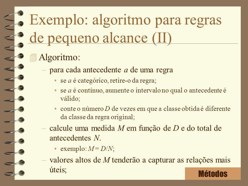 Exemplo: algoritmo para regras de pequeno alcance (II)