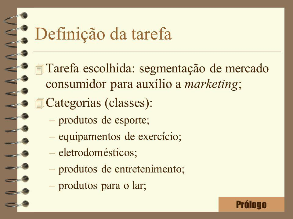 Definição da tarefa Tarefa escolhida: segmentação de mercado consumidor para auxílio a marketing; Categorias (classes):