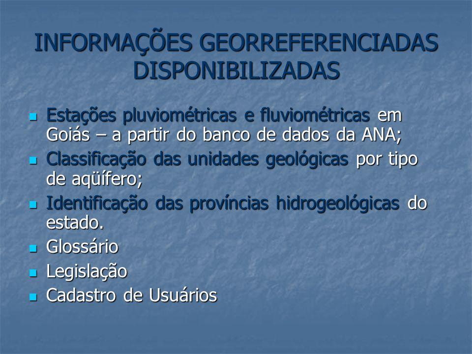 INFORMAÇÕES GEORREFERENCIADAS DISPONIBILIZADAS