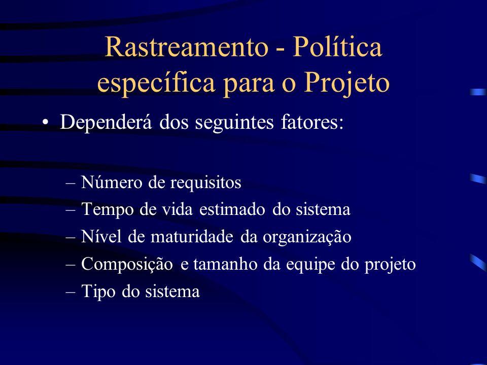 Rastreamento - Política específica para o Projeto
