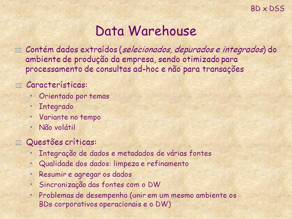 BD x DSS Data Warehouse.