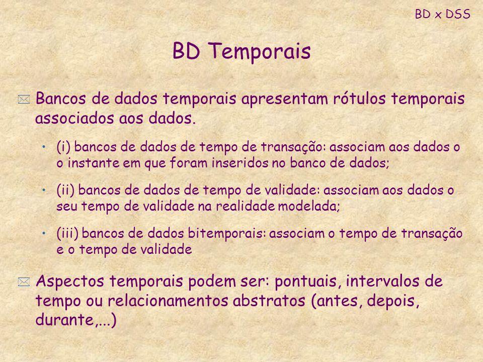 BD x DSS BD Temporais. Bancos de dados temporais apresentam rótulos temporais associados aos dados.