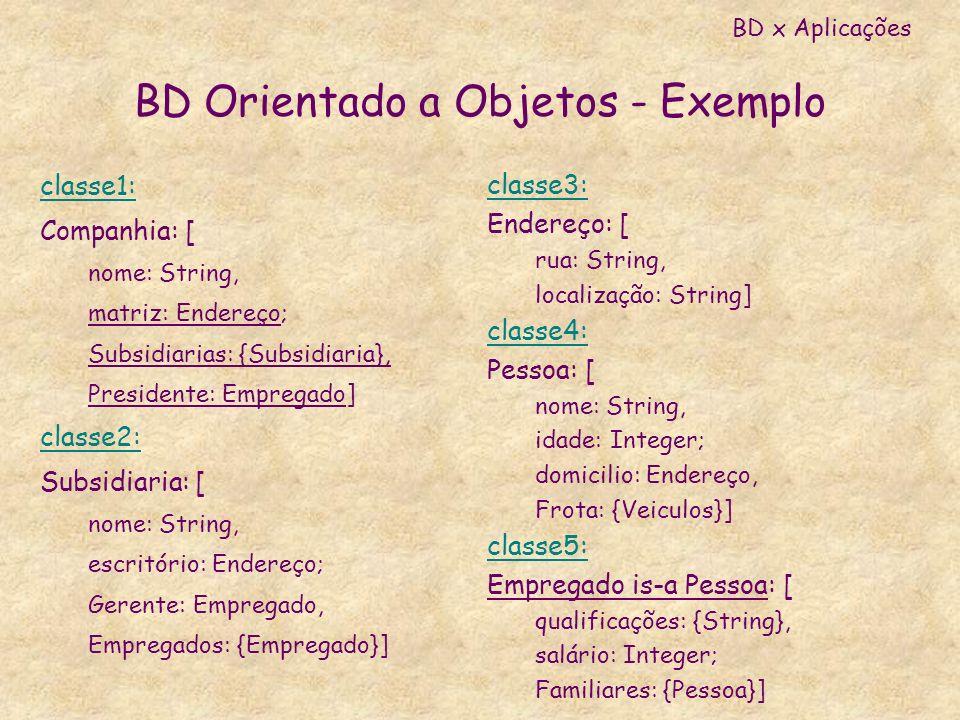 BD Orientado a Objetos - Exemplo