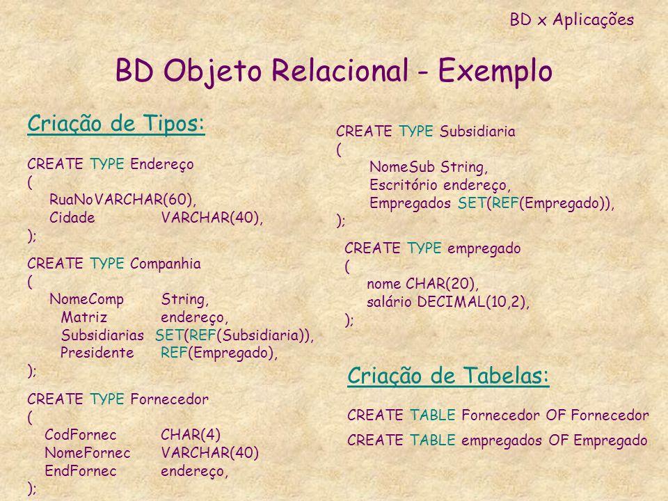 BD Objeto Relacional - Exemplo