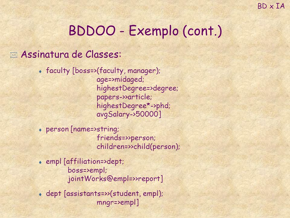 BDDOO - Exemplo (cont.) Assinatura de Classes: BD x IA