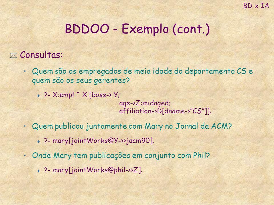 BDDOO - Exemplo (cont.) Consultas: