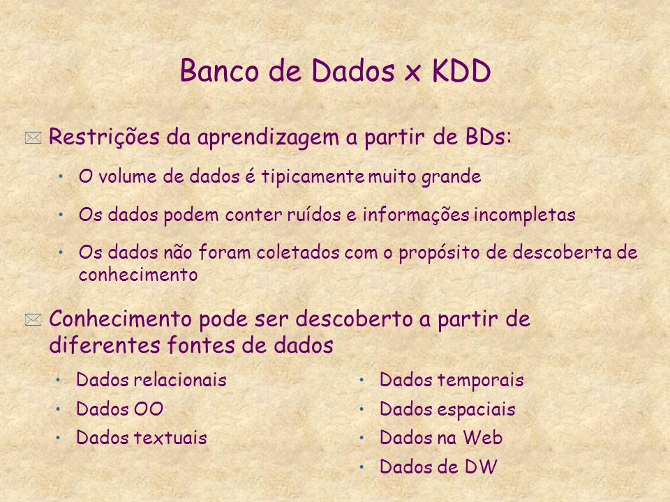 Banco de Dados x KDD Restrições da aprendizagem a partir de BDs: