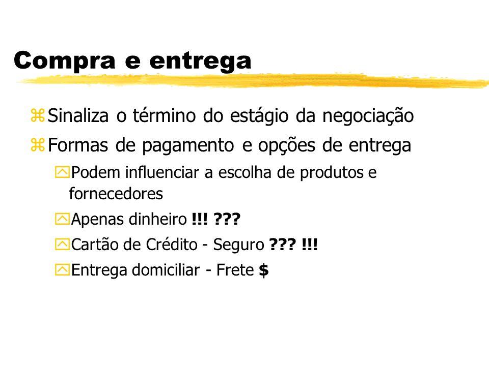 Compra e entrega Sinaliza o término do estágio da negociação