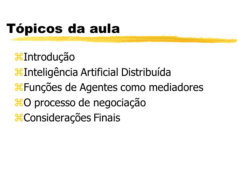 Tópicos da aula Introdução Inteligência Artificial Distribuída