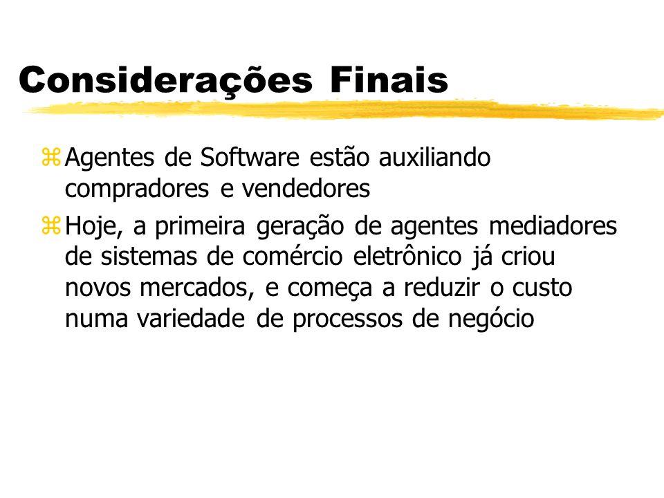 Considerações Finais Agentes de Software estão auxiliando compradores e vendedores.