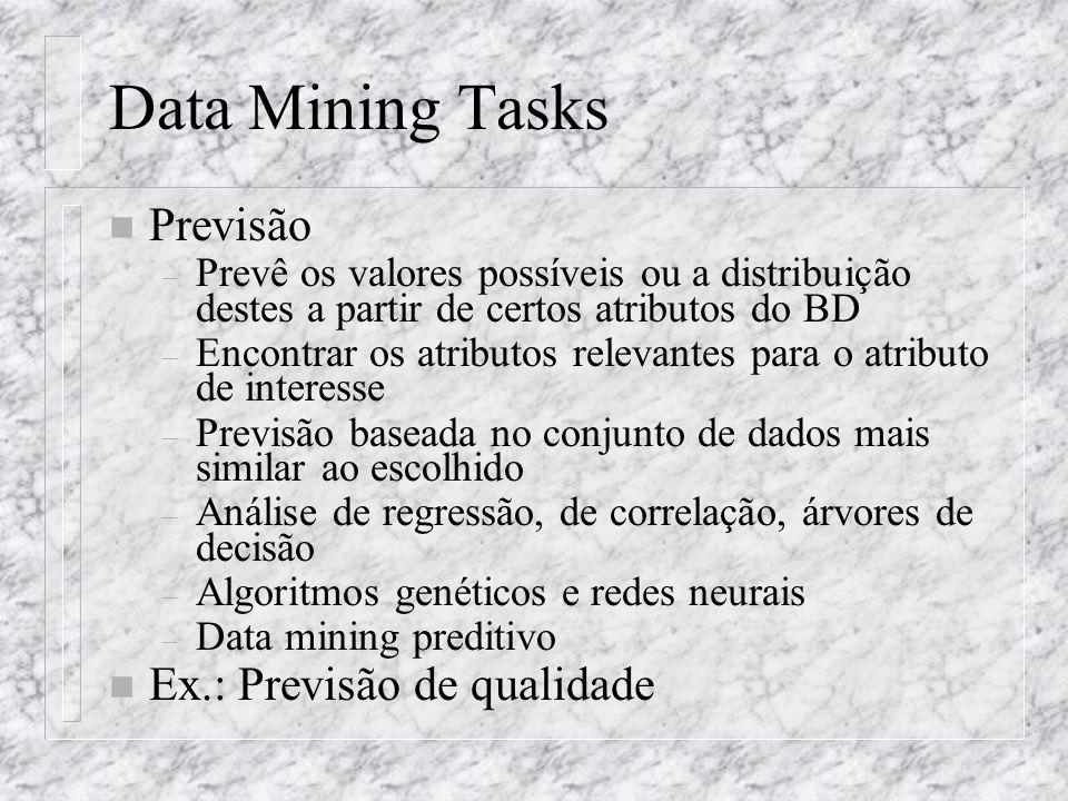 Data Mining Tasks Previsão Ex.: Previsão de qualidade