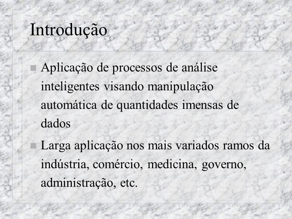 Introdução Aplicação de processos de análise inteligentes visando manipulação automática de quantidades imensas de dados.