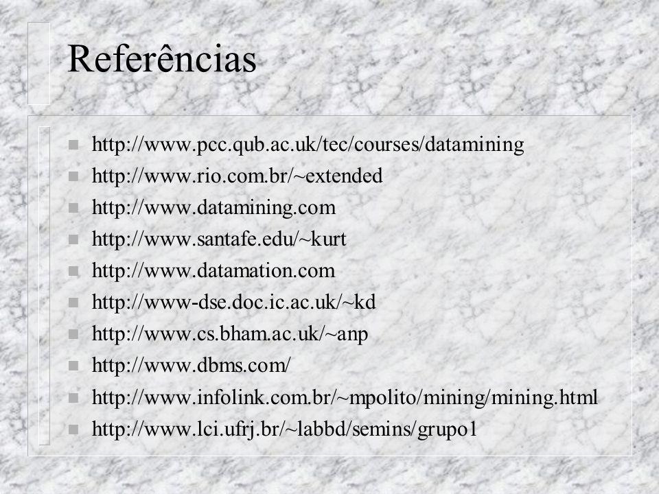 Referências http://www.pcc.qub.ac.uk/tec/courses/datamining