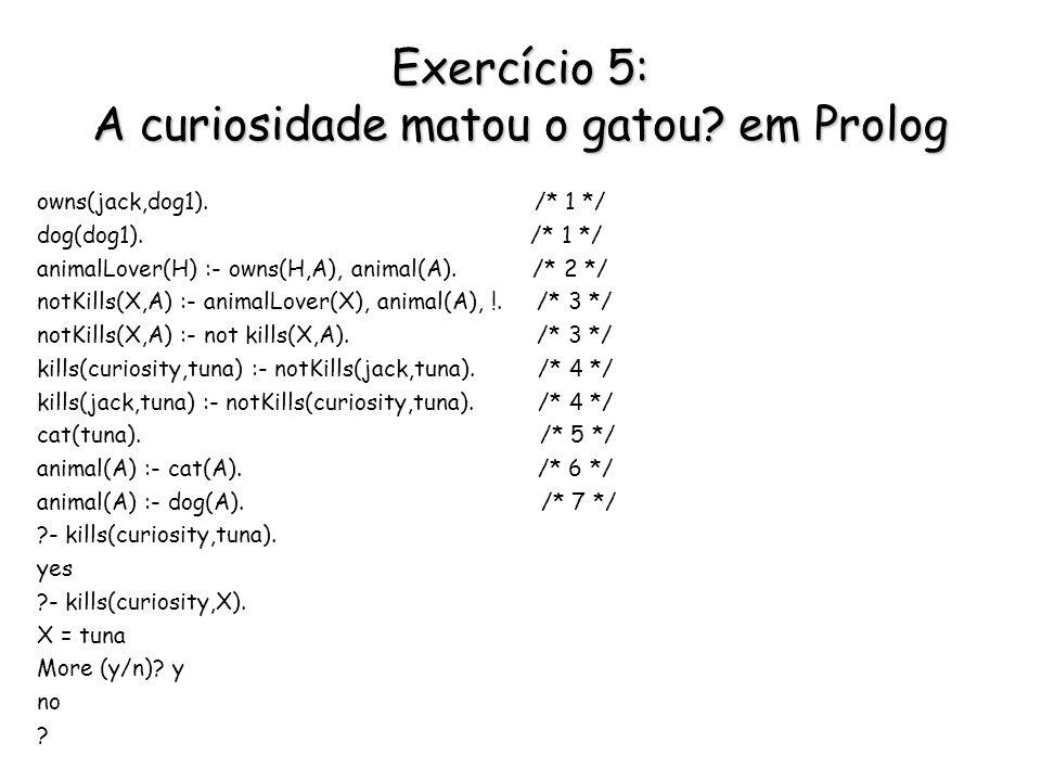 Exercício 5: A curiosidade matou o gatou em Prolog