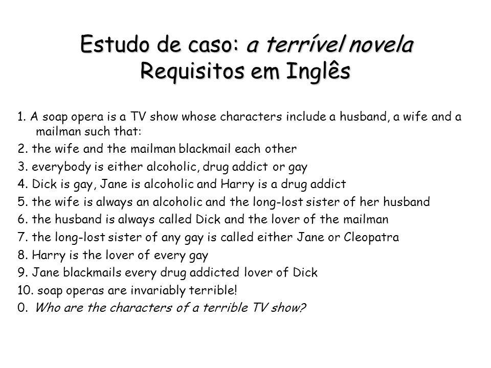 Estudo de caso: a terrível novela Requisitos em Inglês