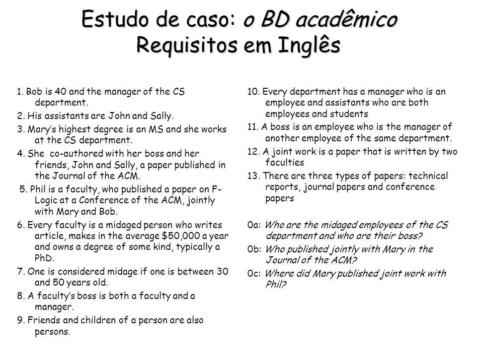 Estudo de caso: o BD acadêmico Requisitos em Inglês