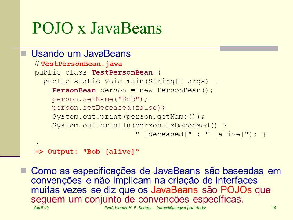 POJO x JavaBeans Usando um JavaBeans
