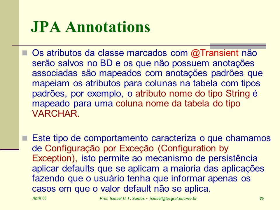 JPA Annotations