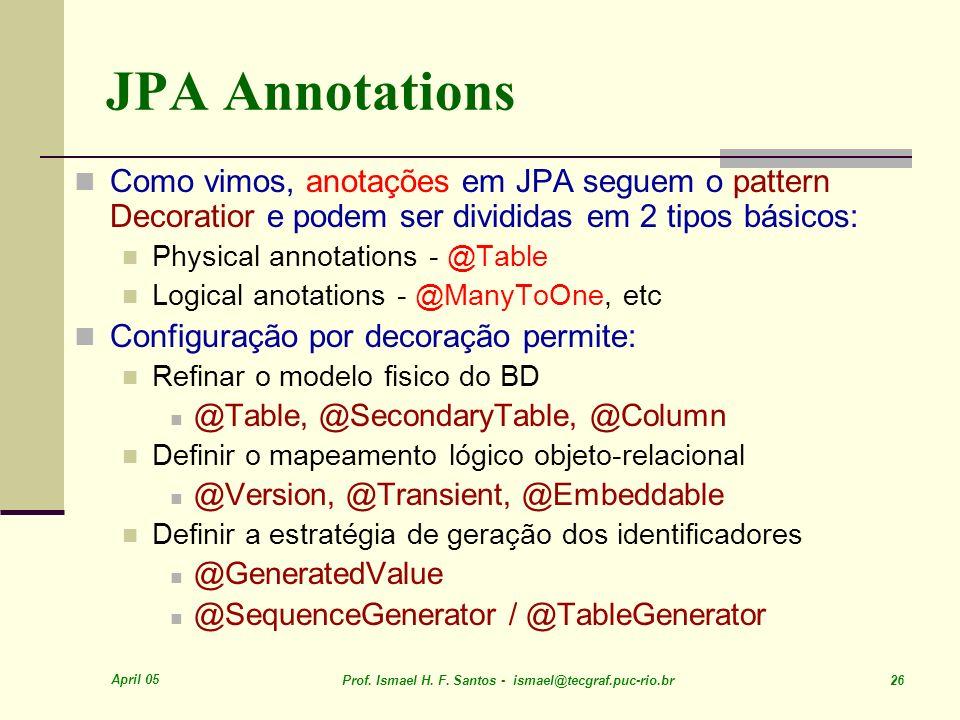 JPA Annotations Como vimos, anotações em JPA seguem o pattern Decoratior e podem ser divididas em 2 tipos básicos:
