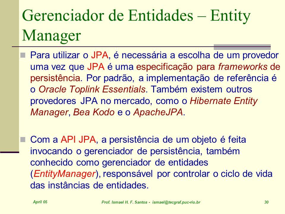 Gerenciador de Entidades – Entity Manager