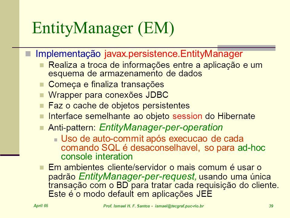 EntityManager (EM) Implementação javax.persistence.EntityManager