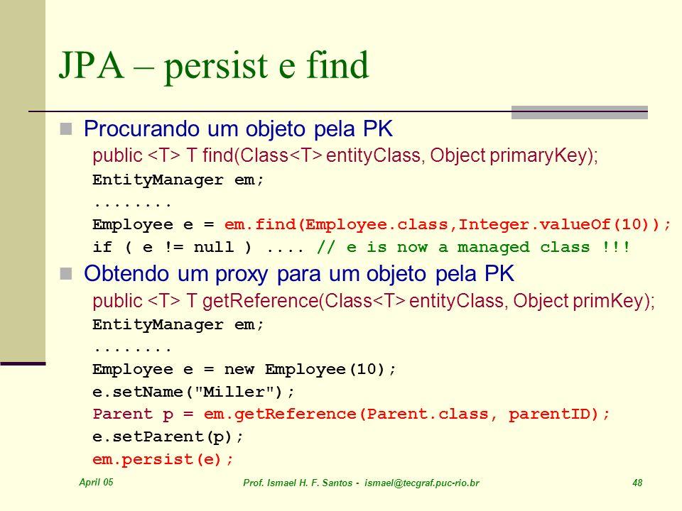 JPA – persist e find Procurando um objeto pela PK