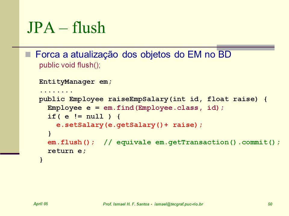 JPA – flush Forca a atualização dos objetos do EM no BD