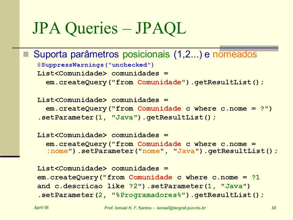 JPA Queries – JPAQL Suporta parâmetros posicionais (1,2...) e nomeados