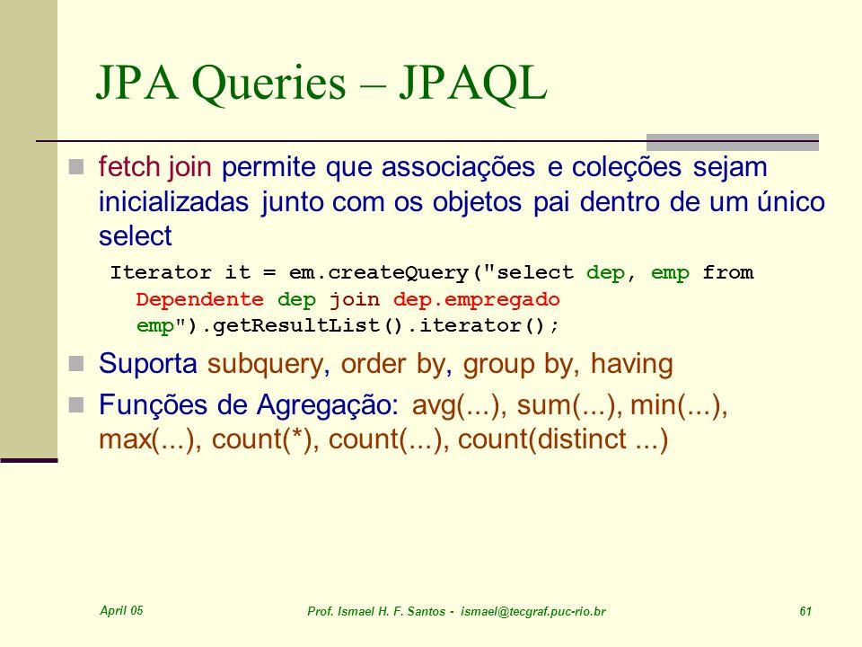 JPA Queries – JPAQL fetch join permite que associações e coleções sejam inicializadas junto com os objetos pai dentro de um único select.