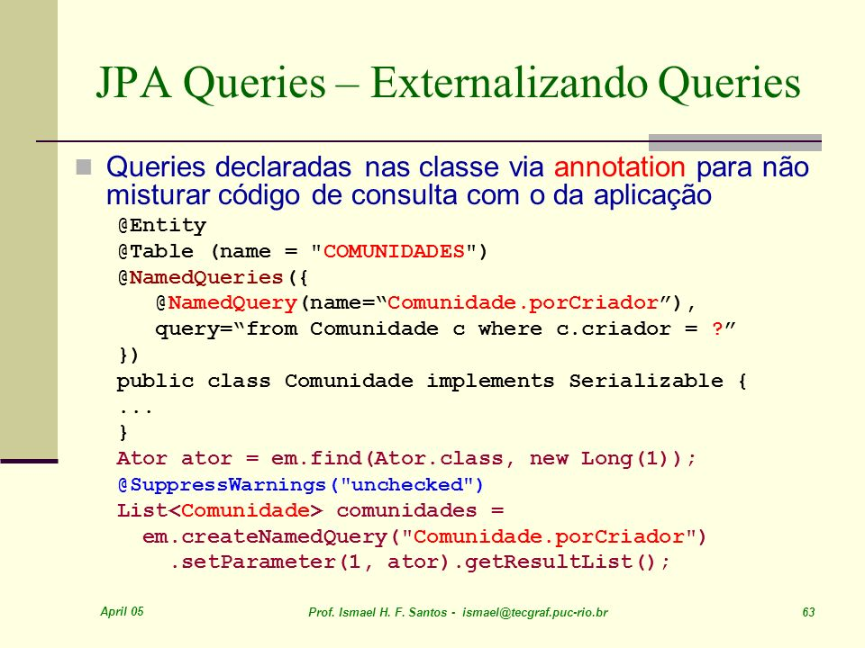JPA Queries – Externalizando Queries