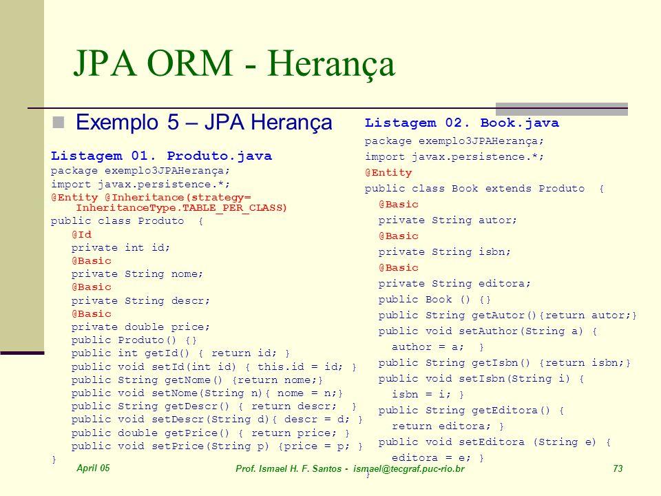 JPA ORM - Herança Exemplo 5 – JPA Herança Listagem 02. Book.java