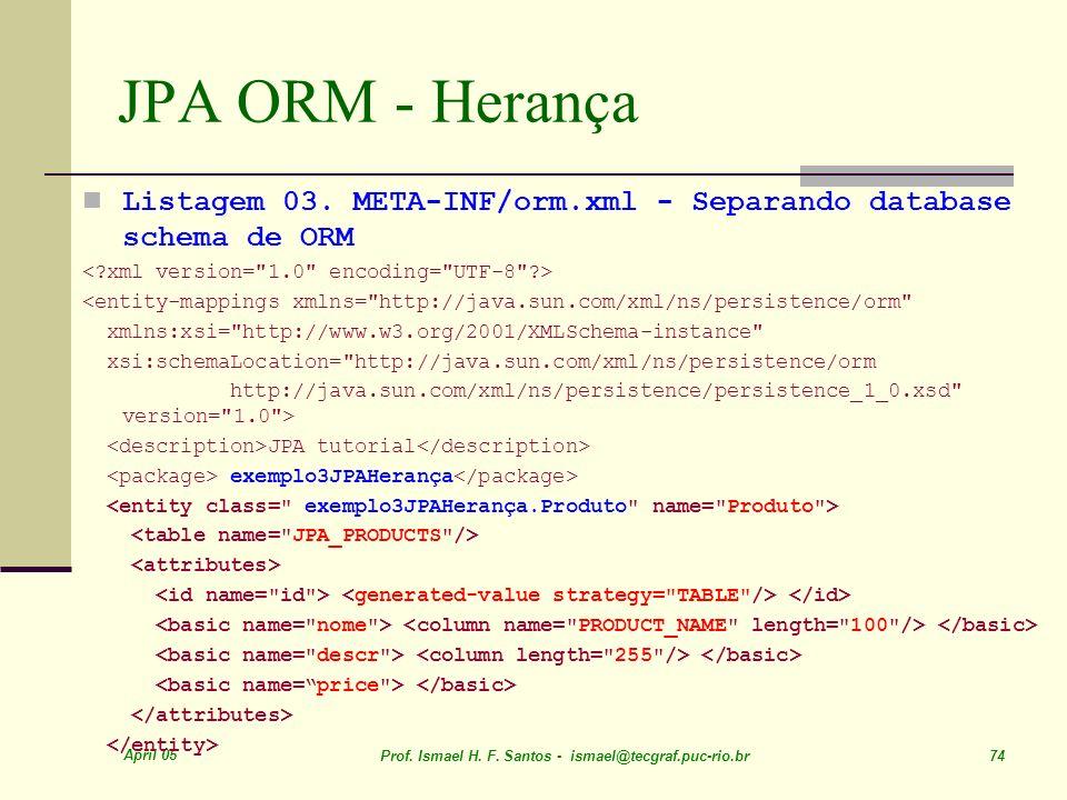 JPA ORM - Herança Listagem 03. META-INF/orm.xml - Separando database schema de ORM. < xml version= 1.0 encoding= UTF-8 >