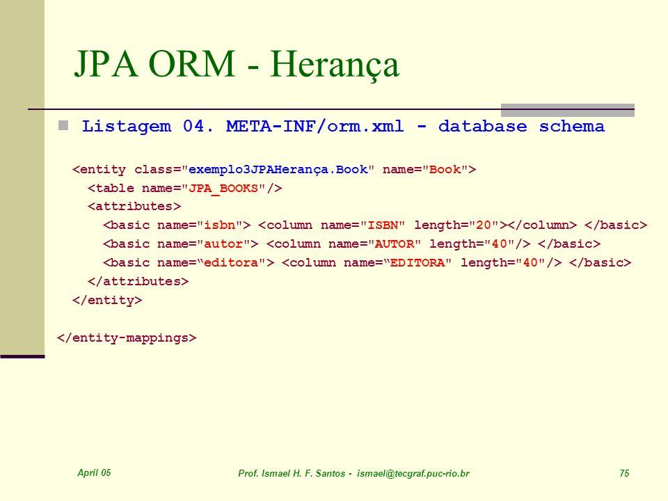 JPA ORM - Herança Listagem 04. META-INF/orm.xml - database schema