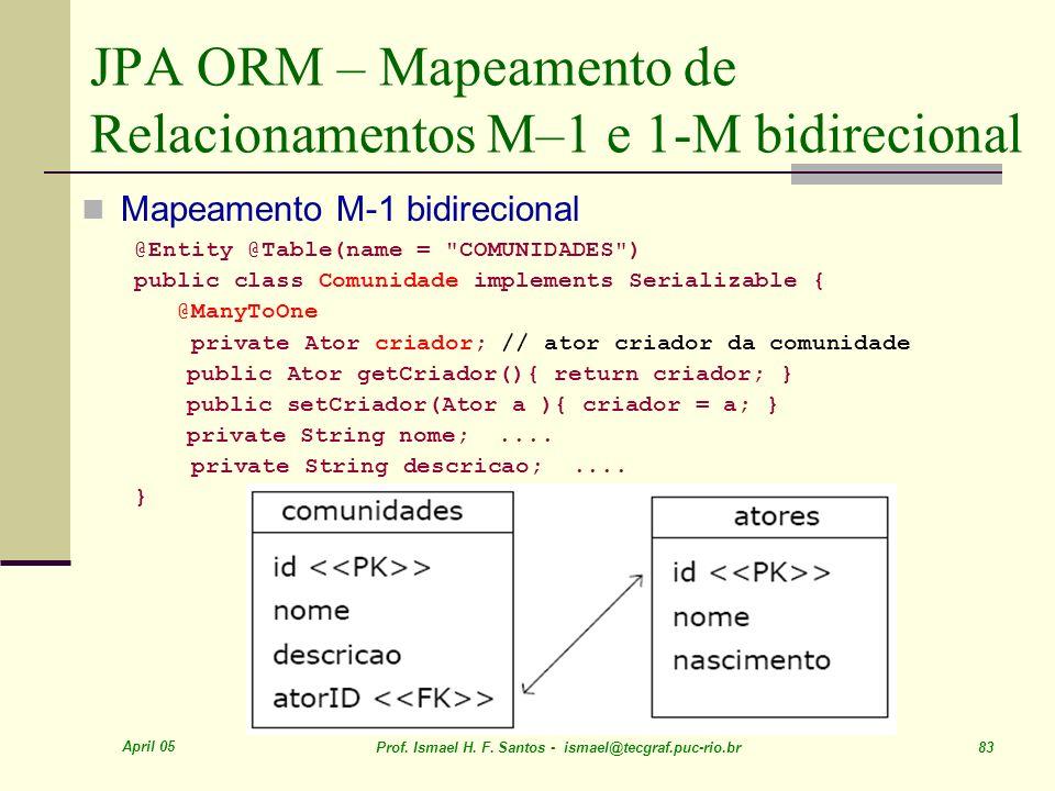 JPA ORM – Mapeamento de Relacionamentos M–1 e 1-M bidirecional