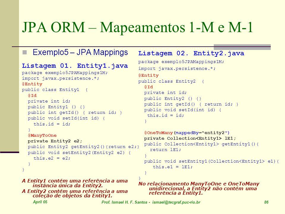 JPA ORM – Mapeamentos 1-M e M-1