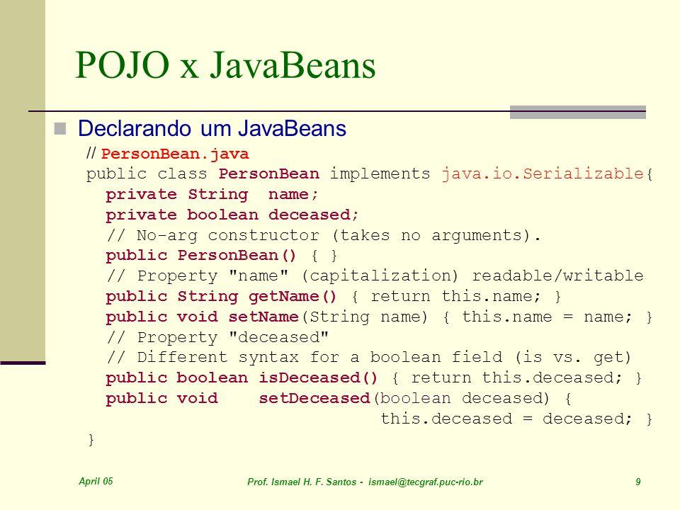 POJO x JavaBeans Declarando um JavaBeans // PersonBean.java