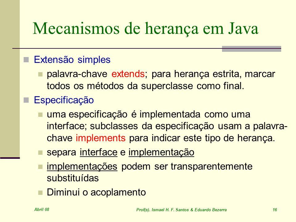 Mecanismos de herança em Java