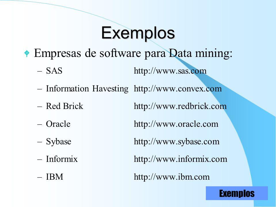 Exemplos Empresas de software para Data mining: SAS http://www.sas.com