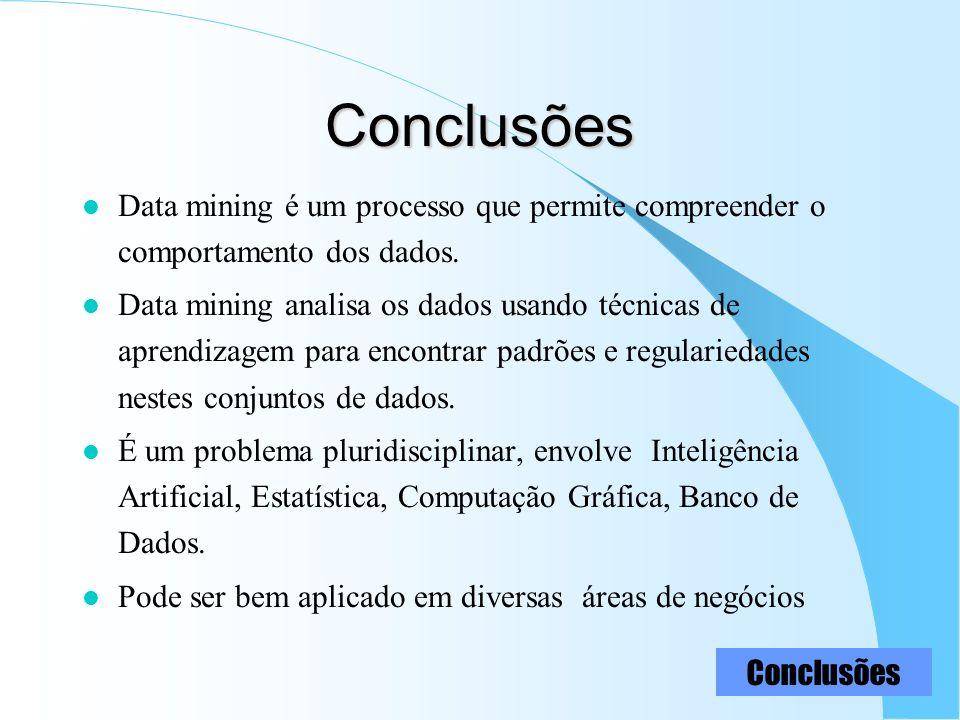 Conclusões Data mining é um processo que permite compreender o comportamento dos dados.