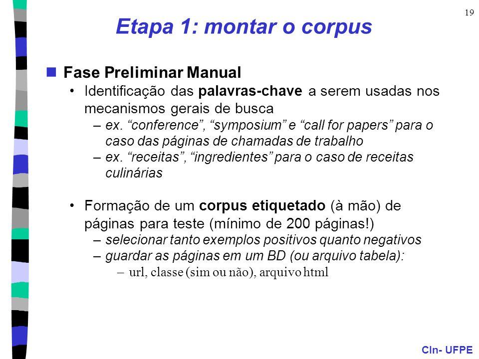 Etapa 1: montar o corpus Fase Preliminar Manual