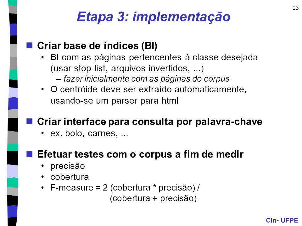 Etapa 3: implementação Criar base de índices (BI)