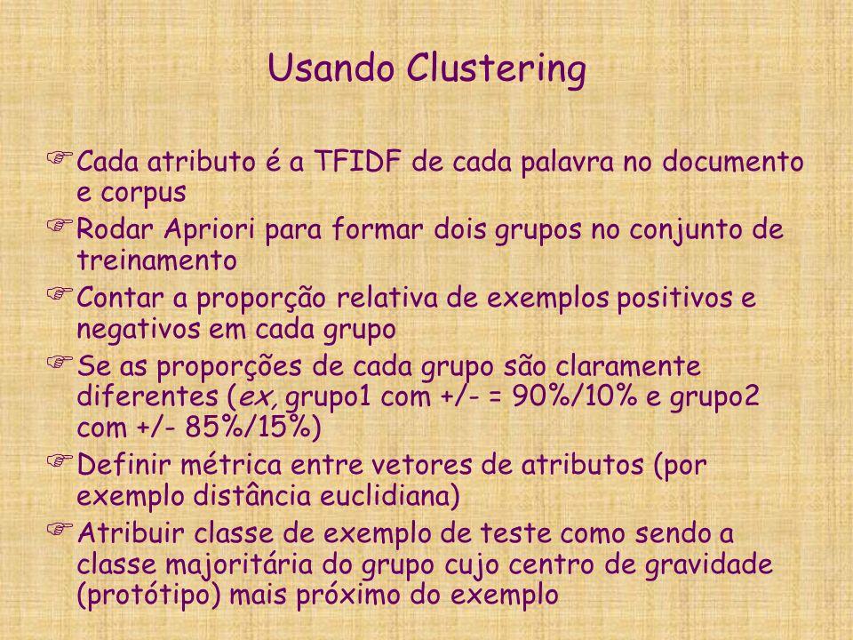 Usando Clustering Cada atributo é a TFIDF de cada palavra no documento e corpus. Rodar Apriori para formar dois grupos no conjunto de treinamento.